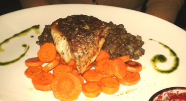 Pan Roasted Wild Bass, Crunchy Carrots, Green Lentils