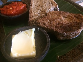 The sourdough bread and sambal at Atman Cafe